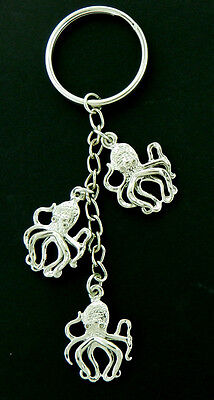 Octopus Key Chain 3/D Silver tone-