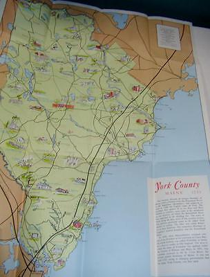 Vintage York County Maine Pictorial Map Fold Out Great Condition
