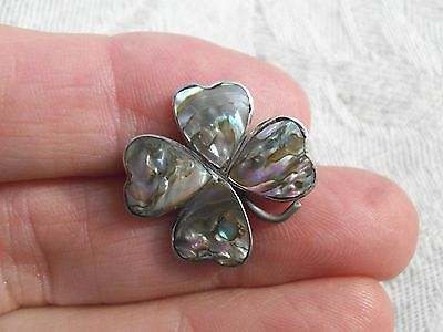 """Vintage Sterling Silver Abalone 4 Leaf Clover Brooch- .75"""" Pin-C Clasp -2.7g -d"""