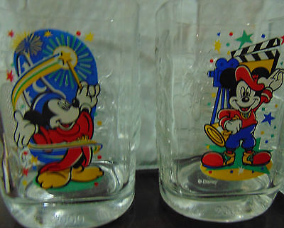 McDonalds 2000 Walt Disney World Celebration Glasses Complete Set of 4