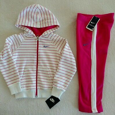 NWT Nike Girls Tracksuit Outfit Set Jacket Pants Ivory Pink striped size 4 4T