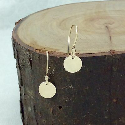 Solid 9ct Yellow Gold  6.5mm Drop Disc Earrings Polished Finish