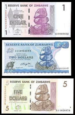 Reserve Bank Of Zimbabwe - One Dollar, Two Dollars, Five Dollars -  Mint