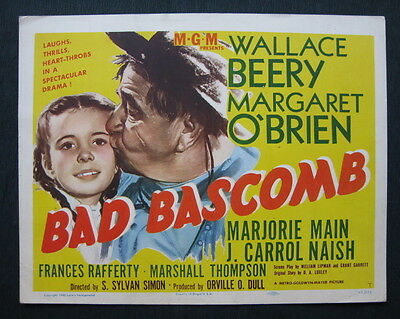 BAD BASCOMB 1946 title lobby card Wallace Beery Margaret O'Brien cowboy western