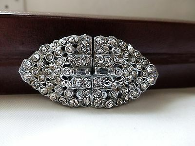 Vintage Art Deco clear crystal diamante duette dress clips brooch fur pin