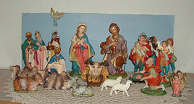 """Vtg Large Nativity Paper Mache Hand Painted Italy 10"""" tall 21 Pieces Jesus Mary"""