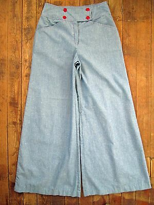 True Vintage Blue Red Pants Hippy Bell Bottom Flare 60s 70s 10 12 Large 29x31