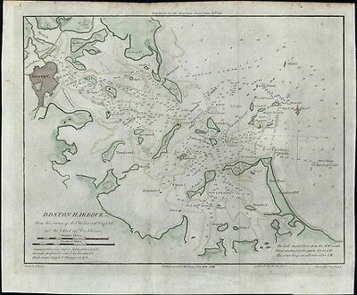 Boston Harbor Massachusetts 1841 Blunt coastal chart map hand color charming
