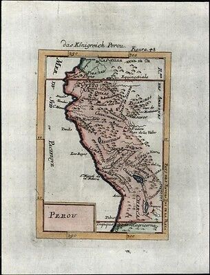 Peru Kingdom Quito South America 1719 charming antique engraved map Pacific