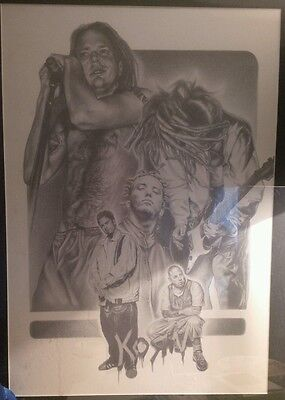 KoRn hand Sketched  group portrait Very rare!! APPRX 1 1/2' X 2 1/2' Great shape