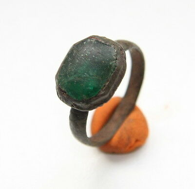 Antique Medieval Bronze Finger Ring With Green Inlay (OCR)