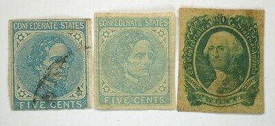 USA Confederate Stamp Lot of three different stamps CS#6,7,13