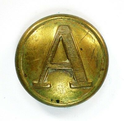 "Non Dug Confederate Artillery Roman Lined ""A"" Button P. Tait BM Floating Shank"