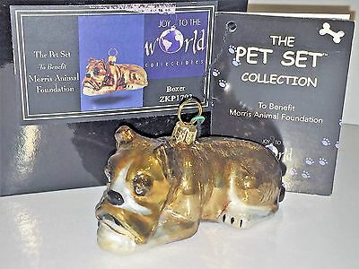 BOXER DOG Polish Glass ORNAMENT Kurt Adler Joy to the World Pet Set ~NEW in Box