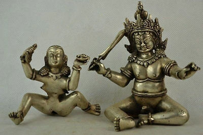 Collectibles Old Handwork Tibet Silver Carving MAKE LOVE Buddha Statue