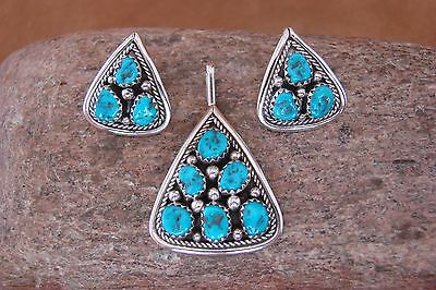 Native American Turquoise Cluster Pendant & Earring Set! Navajo Signed
