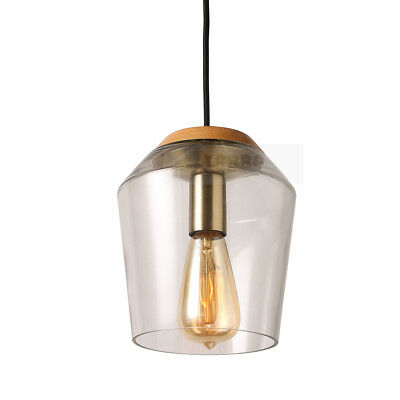 Vintage Industrial Glass Pendant Lighting Clear Timber Chandelier Ceiling Light