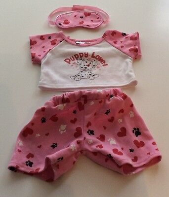 Build A Bear Clothes - Pink Puppy Love Pyjamas And Sleep Mask
