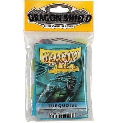 Dragon Shield Mini Size Yugioh Card Barrier Protector Sleeves 50ct - Turquoise