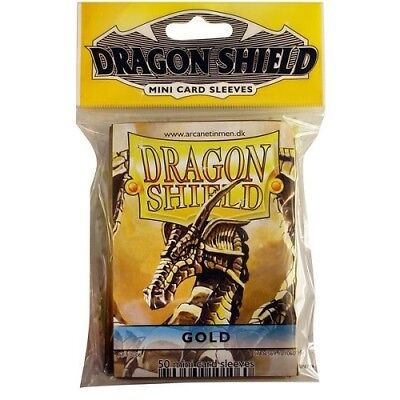 Dragon Shield Mini Size Yugioh Card Barrier Protector Sleeves 50ct - Gold