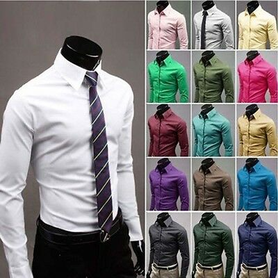 New Fashion Tops Men's Luxury Casual Shirts Slim Dress Shirts Long Sleeve Button