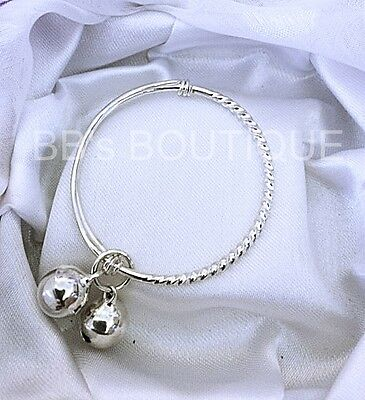 NEW* CUTE HP 925 Silver Baby Bangle ( Adjustable ) Twirl Patterned  #TW22