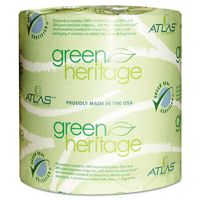 Atlas Paper Mills Green Heritage Toilet Tissue, 4 1/2 x 3 1/10 Sheets, 2Ply,...