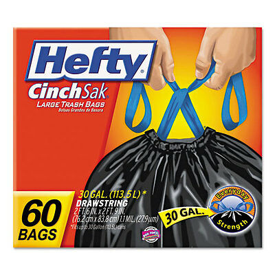 Hefty Cinch Sak Tall Kitchen & Trash Bags, 0.9 mil, 30 gal, Black, 60/Box,...