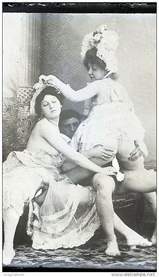 CURIOSA - TRIO - PHOTO PLAQUE VERRE NEGATIF - Maison close prostitution - 1880