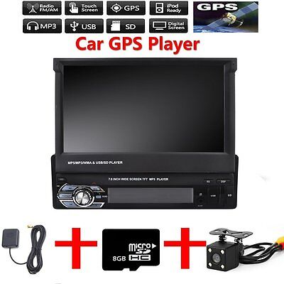"1 Din Single 7"" HD Touch Screen Car Bluetooth Stereo Radio MP5 + Camera+ Map"