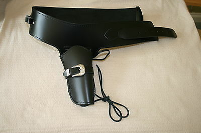 Western Black Leather Gun Rig Holster & Belt Size Small