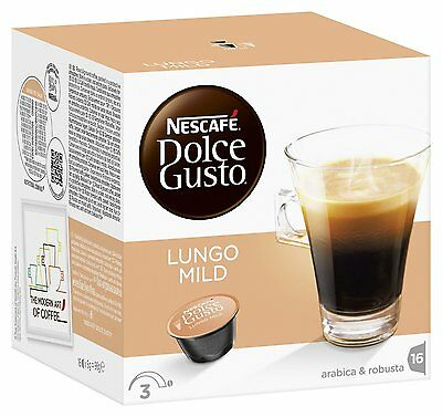 Dolce Gusto Lungo Mild Coffee (6 Boxes,Total 96 Capsules ) 96 Servings