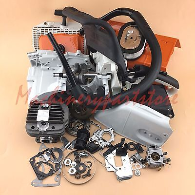 New Complete Parts For Stihl Ms440 044 Crankcase Crankshaft Carburetor Chainsaw