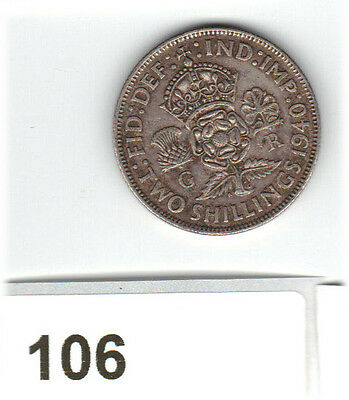 1940 George VI  Florin/ Two Shillings 2/- 50% Silver