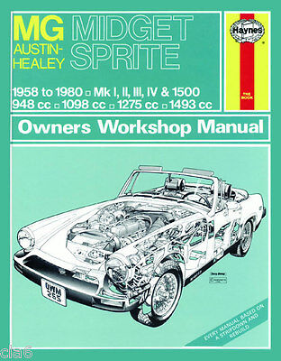 MG Midget Mk 1 2 3 1500 and Austin Healey Sprite Mk 1 2 3 4 Workshop Manual *NEW