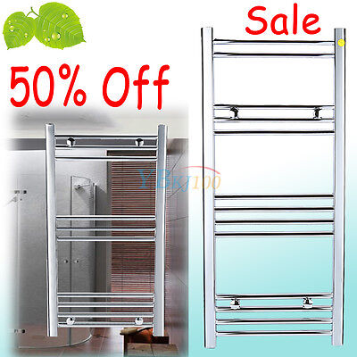 Straight Chrome Water Heated Bathroom Kitchen Towel Rail Radiator Drying Clothes