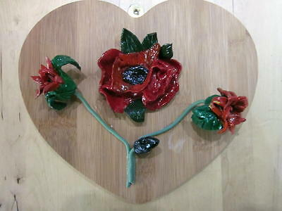 Ceramic Poppy Hand crafted on mounted Heart Board
