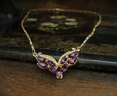 Beautiful Vintage Amethyst Marquise Pendant with Gold Plated Figaro Chain