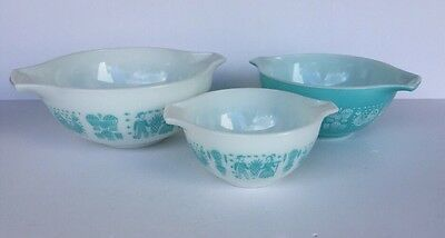 PYREX Set of 3 BUTTERPRINT Nested Mixing Bowls: 401, 402, 403 Turquoise EUC!