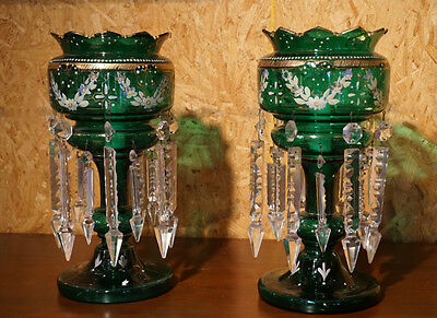 Antique American Victorian blown and cut glass lusters  rare emerald green c850