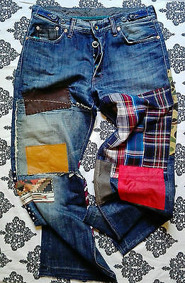 Denim hand made jeans, patched, Junya Watanabe style, ooak, DKOP brand