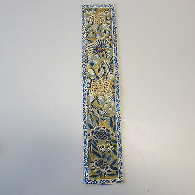 Antique Chinese Silk Embroidery Blue Gold Thread Floral Insects Forbidden Stitch