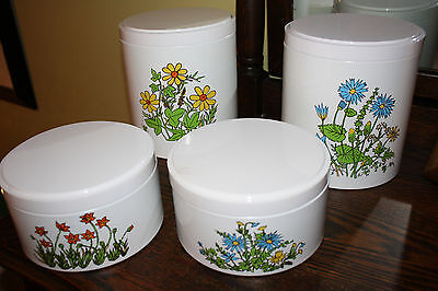 Vintage Ransburg Set of 4 Metal Canisters White with Spring Flowers