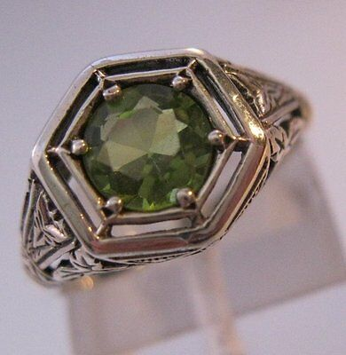 1CT Natural Peridot Sterling Silver Edwardian Style Filigree Ring Sz 6 Vintage