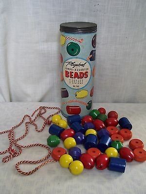 Vintage Playskool Jumbo Beads Wooden with Laces 40 Pieces No 702