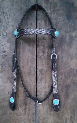 New Western Leather Headstall/BRIDLE Raw hide Knotted attach tourquies chonchos