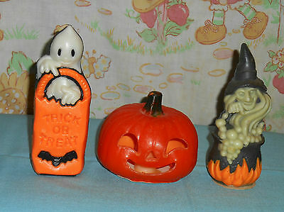 vintage Halloween GURLEY CANDLE & WIZARD AIR FRESHENER LOT jack-o-lantern ghost