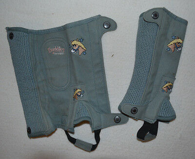 Shires Mini Buddies Grey Half Chaps Gaiters Horse Riding Children Wear