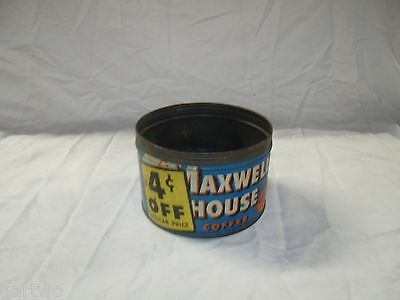Vintage MAXWELL HOUSE COFFEE TIN CAN 1lb opened 4 cents off!