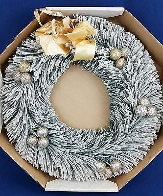 """Vintage Frosted Flocked Large Bottle Brush Artificial Christmas Wreath 18"""" IOB"""